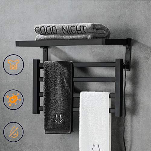 EnweNge Secatoallas Electrico, Toallero Eléctrico de Pared, Resistente Al Agua IPX4, Secador de Toallas Calefactado, La Temperatura Puede Calentarse a 55 °, 57 * 39.5 cm,Negro