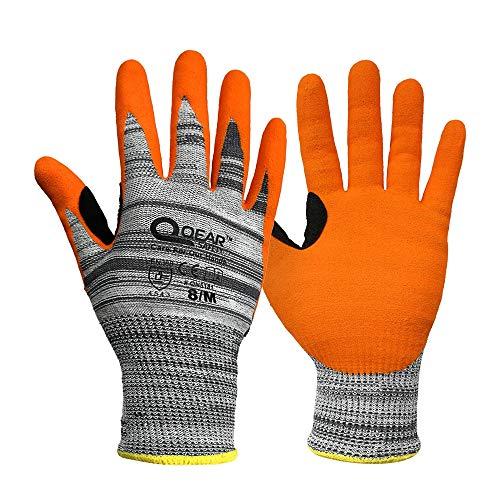 1 par Nivel de corte 5, forro de punto de fibra de HPPE/vidrio, guantes de seguridad de trabajo recubiertos de caucho de nitrilo arenoso(9/L)