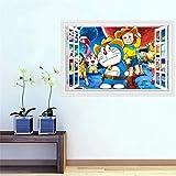 AQgyuh Puzzle 1000 Piezas Ventana 3D Dibujos Animados Doraemon Puzzle 1000 Piezas Adultos Gran Ocio vacacional, Juegos interactivos familiares50x75cm(20x30inch)