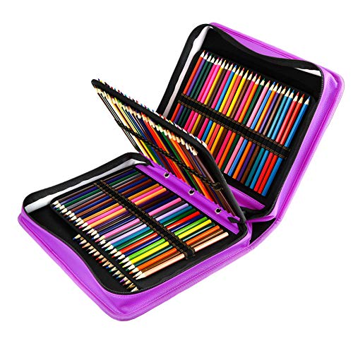 YOUSHARES 180 Slots PU Leather Colored Pencil Case - Large Capacity Carrying Case for Prismacolor Watercolor Pencils, Crayola Colored Pencils, Marco Pens, Gel Pens(Purple)