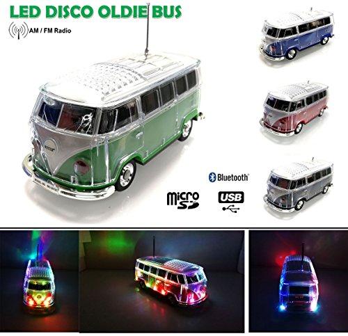 Nostalgie LED Bully Bus Box   Bluetooth   Grun   CAR Multimedia Spaeker   Radio   MP3   USB   MicroSD  SUPER Sound  Lithium-Ionen Akku 20x7x6cm