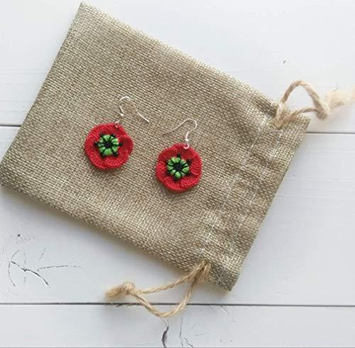 pendientes flor de amapola de ganchillo