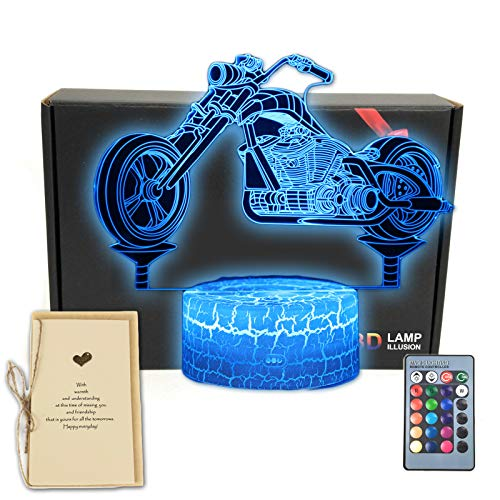 DEAL BEST Motorbike 3D Illusion Lamp Motorcycle Bedroom Decorations Night Light with Greeting Card 16 Colors Touch Remote Decor Gifts for Fathers Day,Dad,Mothers,Men,Women,Kids,Boys,Teens,Girls