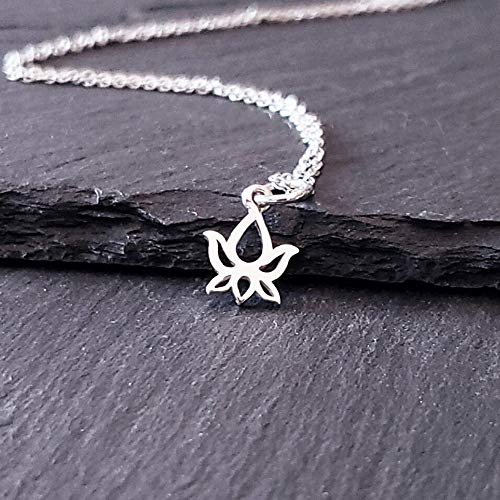 """Best buds necklace - Lotus Bud Charm Sterling Silver Necklace 18"""" (very tiny size)"""