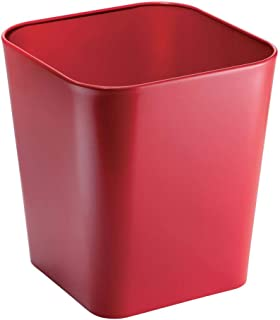 mDesign Decorative Metal Square Small Trash Can Wastebasket, Garbage Container Bin - for Bathrooms, Powder Rooms, Kitchens, Home Offices - Red