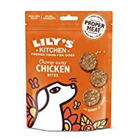 Natural dog treats for puppies and adult dogs (4 months +) Freshly prepared with proper meat: 80 Percent chicken Dog treats ideal for training, in between meals, birthday gifts or just because Grain free treats suitable for dogs with sensitivities No...