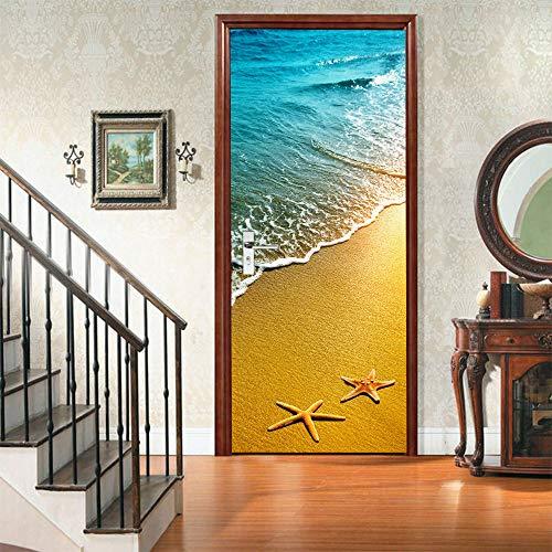 Etiqueta engomada 3D de la puerta de la estrella de mar, calcomanías murales de PVC para la decoración del hogar del arte 30.3x78.7 (77x200cm)
