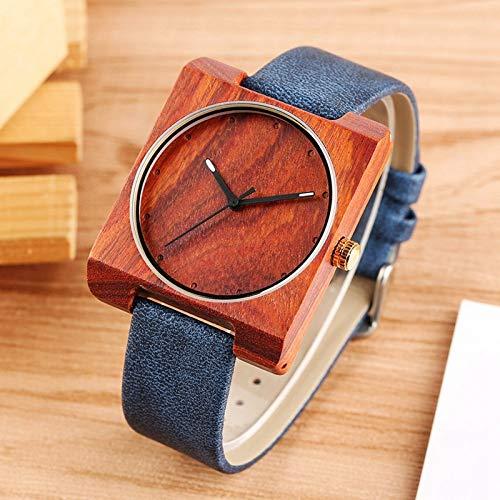 IOMLOP Reloj de Madera Reloj de Madera único para Hombres Reloj de Cuarzo de Cuero con Esfera Redonda Cuadrada Creativa Reloj para Hombre Relojes de Pulsera de Madera ultraligeros Retro para Hombre