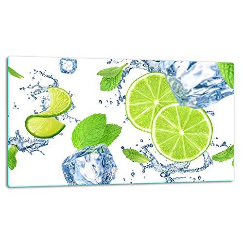TMK | Glasschneidebrett, Herdabdeckplatte ceranfeld 1-telig, Glasschneideplatte, Spritzschutz, Universal Glasplate, 52x30 cm, motiv grün Zitrone