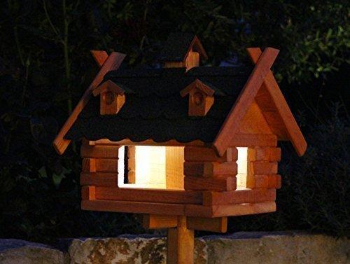 Rechteckiges Vogelhaus mit Solarbeleuchtung Typ 7-8 (Schwarz, groß)