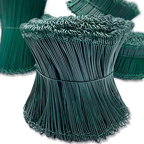 Tarpofix® Rödeldraht Bindedraht ummantelt in grün 1,4 x 100 bis 300 mm (1000 Stk.) - rostfreier Betonbindedraht aus Deutschland - Ösendraht Drilldraht für Drillapparat, Rödelzange & Draht Driller
