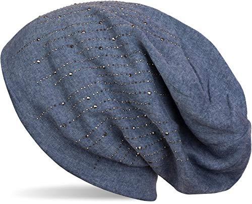 styleBREAKER Damen Beanie Mütze mit Strass Nieten im edlen Streifen Design, Slouch Longbeanie 04024086, Farbe:Jeansblau meliert