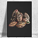 IGNIUBI Ballons de Rugby Impressions sur Toile Art Vintage Affiches Toile Abstraite Art peintures murales Photos pour Salon décor à la Maison 50X70cm 20x28 Pouces sans Cadre