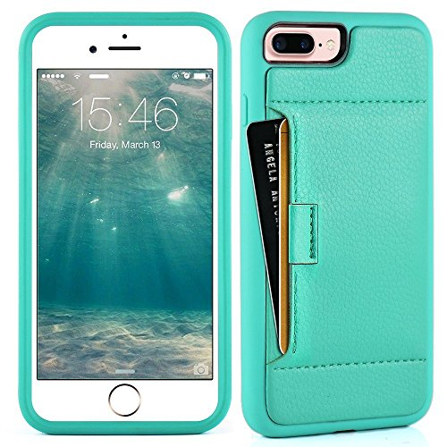 ZVE Case for Apple iPhone 8 Plus and iPhone 7 Plus, 5.5 inch, Slim Leather Wallet Case with Credit Card Holder Slot Pocket Protective Case Cover for Apple iPhone 7 Plus / 8 Plus - Mint Green