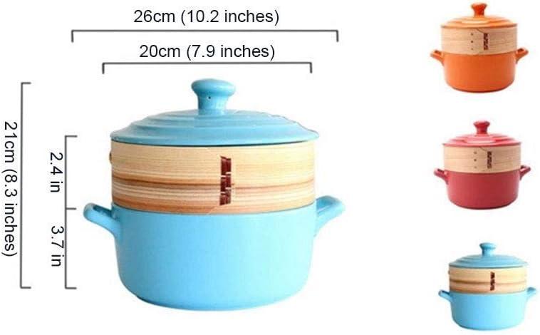 YWYW La marmite en céramique avec Couvercle Rond et cuiseur Vapeur est Compatible avec diverses Sources de Chaleur sauf Les cuisinières à Induction, Rose Red