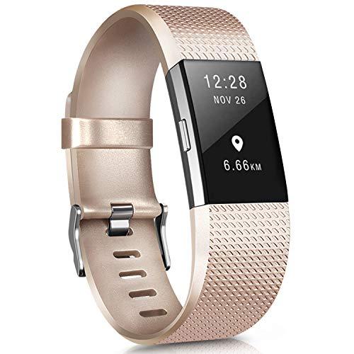 Yandu Armband kompatibel für Fitbit Charge 2, Armband für Damen und Herren, Sportarmband aus Silikon, verstellbar, für Fitbit Charge 2, groß (ohne Uhr) (Gold, Klein)