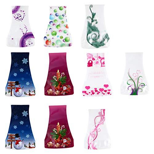PRETYZOOM 10 jarrones de flores Chirstmas plegables de plástico expandible para vacaciones de viaje, camping, boda, Navidad, fiesta, decoración de mesa (color aleatorio)