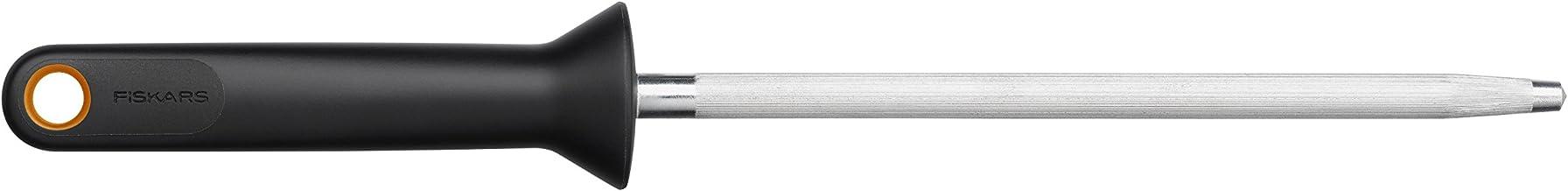 Fiskars, Sharp Knives and Scissors, Length: 20 cm Sharpening Steel, one Size, Black