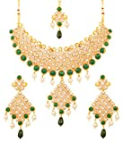 Touchstone Gold Tone Indian Hollywood Green Faux Emeralds/Pearls Bridal Jewelry Necklace Set for Women