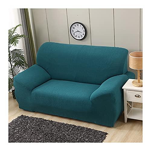 Daesar Fundas Elasticas de Sofa,Funda de Sofa de 2 Plazas,Color Sólido Fundas de Sofa Azul Verde,2 Plazas(145-185CM)