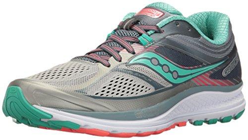 Saucony Women's Guide 10 Running Shoe, Grey | Teal, 3 UK