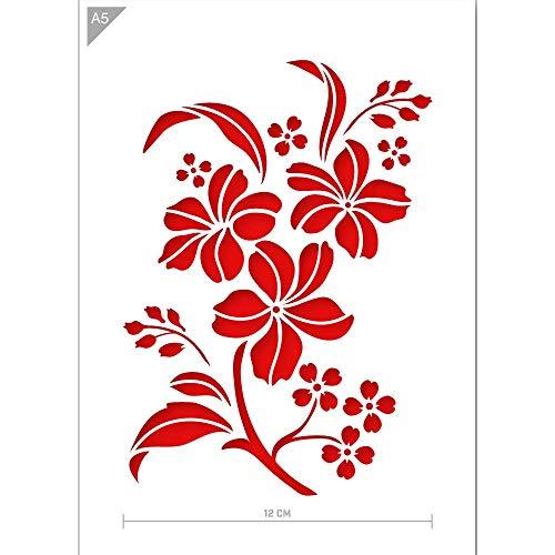 QBIX Blume Schablone - Blumen Schablone - Blume & Blätter Schablone - A5 Größe - Wiederverwendbare Kinder freundlich DIY Schablone zum Malen, Backen, Basteln, Wand, Möbel