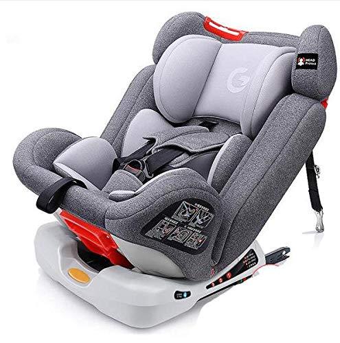 LQ&XL Silla de coche bebe silla coche Grupo 1/2/3 (0-36 kg, desde los 0 los 12 años), 5 puntos fijos, Puede sentarse o acostarse Fácil y rápida de instalar/Gray