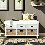 P PURLOVE Rustic Storage Bench Entryway Storage Bench with 3 Drawers and 3 Rattan Baskets Shoe Storage Bench with Removable Cushion for Living Room, Entryway(White)