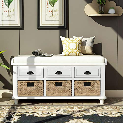 Organizer Storage Bench with 3 Drawers, 3 Rattan Baskets and Removable Cushion for Entryway, Hallway, Living Room (White)