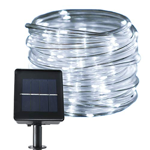 jar-owl Solar String Lights Waterproof Copper Wire Tube Lights 33 Feet 100LED 8-in-1 Mode for Outdoor Indoor Home Garden Patio Parties - White