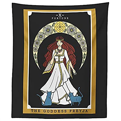 "The Goddess Freyja Tarot Card Tapestry - Norse Goddess Freya Pagan Witch Wall Hanging Home Decor (60"" x 50"")"