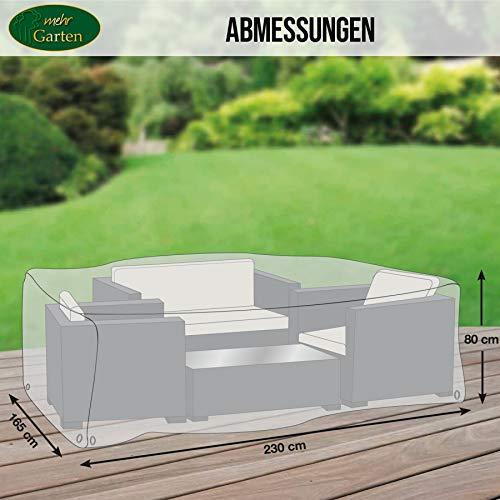 Mehr Garten Gartenmöbel Abdeckung rechteckig, Premium Schutzhülle Abdeckplane für Lounge-Gruppe Loungemöbel wasserdicht 230 x 165 x 80 cm Lichtgrau - 6