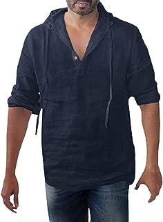 MIS1950s Fashion Men's Baggy Cotton Linen Button Retro Vintage Casual Lace-up Linen Lace Long Sleeve Hooded T-Shirt Blouse