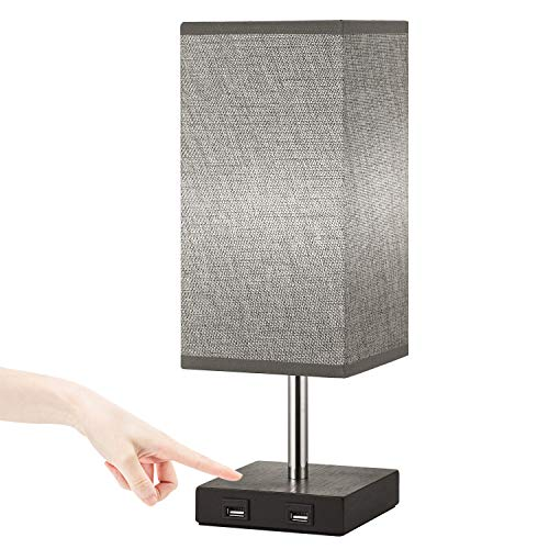 Touch Control Table Lamp,Dimmable Touch Lamp Bedside Lamp with 2 USB...