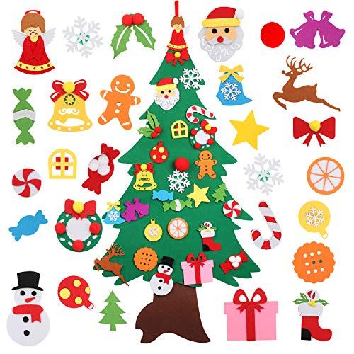 Bageek Albero di Natale in Feltro Natale Albero Decorazioni Natalizie per Bambini con 28pcs Decorativo Ornamenti