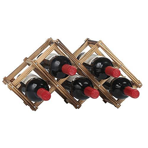 Feixunfan Botellero de madera independiente para mesa bar o mostrador moderno minimalista para vinos secos para bodega sótano (color: madera, tamaño: 6 botellas)