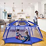 """Alvantor Playpen Play Yard Space Canopy Fence Pin 6 Panel Popup Foldable and Portable Lightweight Safe Indoor Outdoor Infants Babies Toddlers Kids 7'x7'x44"""" Navy Patent"""
