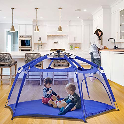 "Alvantor Playpen Play Yard Space Canopy Fence Pin 6 Panel Popup Foldable and Portable Lightweight Safe Indoor Outdoor Infants Babies Toddlers Kids 7'x7'x44"" Navy Patent"