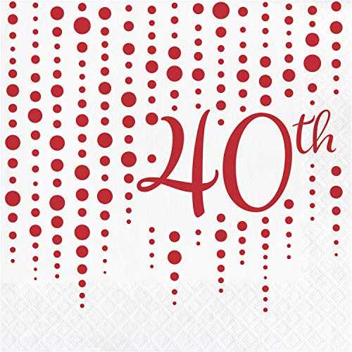 Ruby 40th Anniversary Napkins, 48 ct