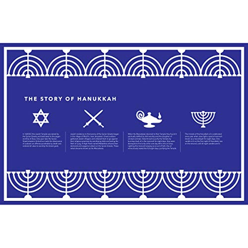 Clearstory Table Paper Placemat Set for Hannukah, Stylish Hanukkah Decorations with The Hanukkah Story, Star of David and Menorah Designs (17 x 11 Inches, Rectangle, Set of 12 Placemats)