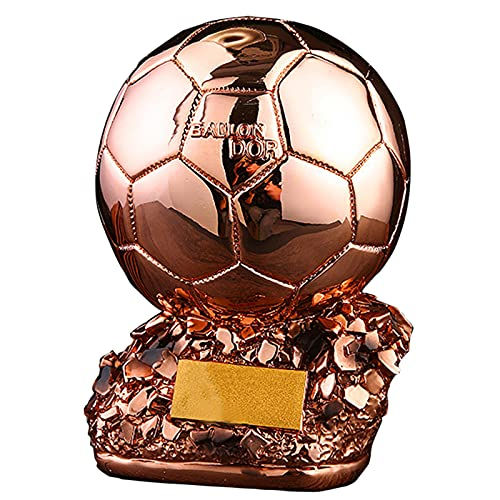 LHLYL-DP Golden Football Trophy, Resin Copy Trophy French Football Best Player,Golden Ball Football Fan Souvenir Gift Collection Birthday Gift,Copper,L