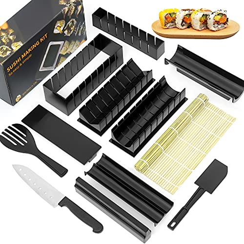12 Pieces Sushi DIY Making Kit-Complete with Premium Sushi Roller Rice Molds, Bamboo Sushi Mat-Roller&Sushi Knife, Can Make 8 Kinds Of Sushi Shapes, Prefect Kitchen Home Sushi Tools- Easy and Fun