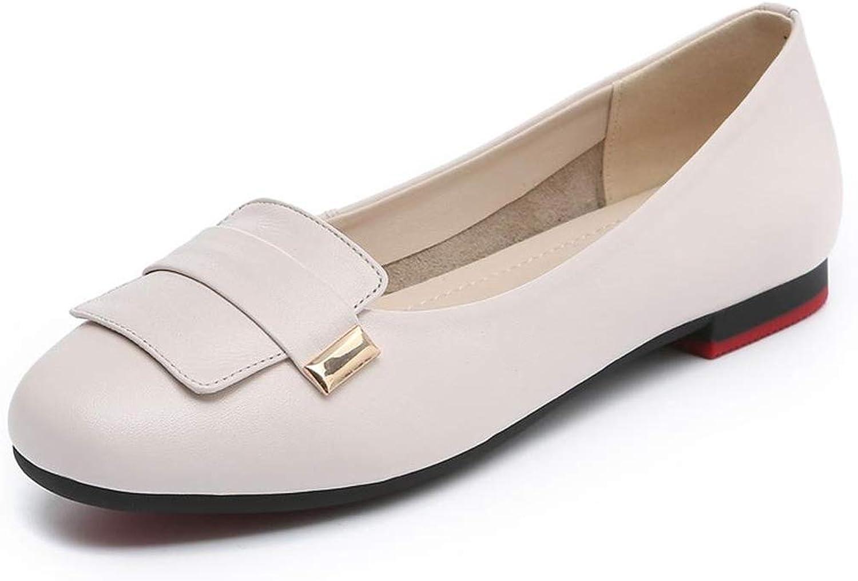 Rundkopfschuhe Lederschuhe Für Einzelpersonen Flache Schuhe Für Damen Schleifen Schuhe Für Schwangere Weiche Unterseite Bequeme Arbeitsschuhe Weiß-36(230mm)
