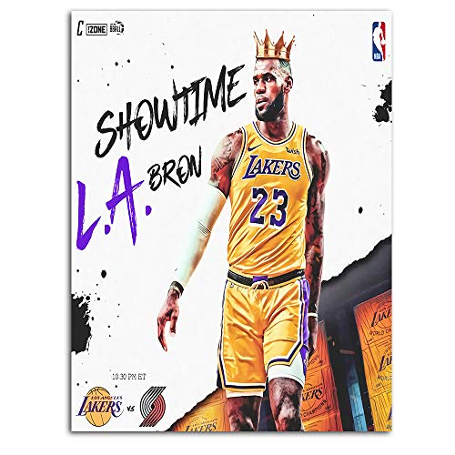 Ghychk Basketball Art Collection Wall Painting LeBron-James Los-Angeles 3D Modern Minimalist Atmosphere for Wall Decor Home Decoration Frameless 24 x 36 Inch