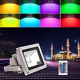 Blinngo 10W RGB Foco LED Proyector de Exterior impermeable IP65 LED Foco de Colores Adaptado para Decoración de Jardín Parque Hotel Terraza