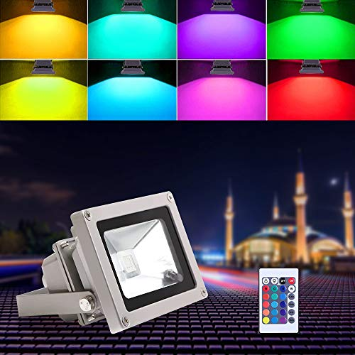 Blinngo led Scheinwerfer spotlight rgb led Strahler LED Fluter 10W flood light Outdoor Waterproof LED Spot dekoration für Garten [Energieeffizienzklasse A ++]