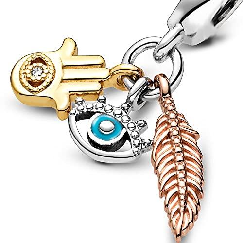 Pandora 925 Silver Pan Bangle Mujeres Mano De Fátima Palm Rose Fea R Evil Eye Charms Para Hacer Pulseras Para Niñas Diy Jewelry Bead Exquisito Regalo