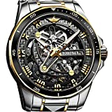 Relojes mecánicos automáticos para hombre, movimiento japonés, cristal de zafiro, 5 ATM, resistentes al agua, se pueden utilizar durante más de 10 años, Dorado, esfera negra,