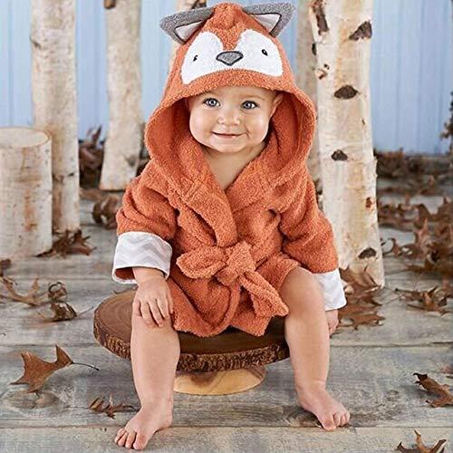 IAMZHL Moda niño niña Animal Albornoz bebé con Capucha Toalla de baño Infantil bebé-Orange-5-3T