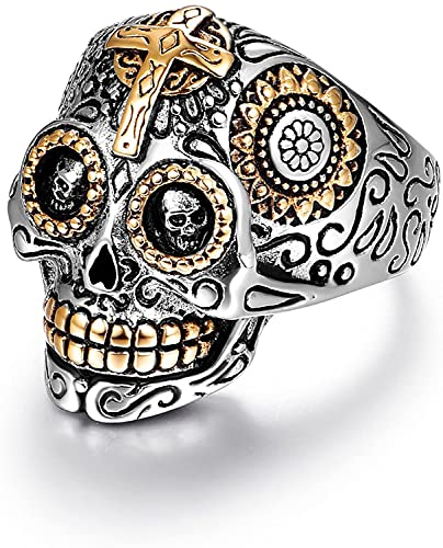 Biker Rings, Mens Sugar Jewelry, Day of the Dead Stainless Steel Mens Gothic Skull Cross Black Vintage Antique Promise Wedding Engagement Ring for Men Halloween Christmas Gifts Size 11